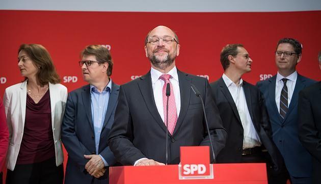 Die Führung der SPD um Martin Schulz (am 14.05.2017 nach der Landtagswahl in Nordrhein-Westfalen (NRW))