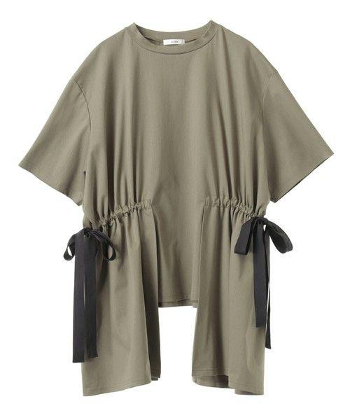 CLANE(クラネ)の「【CLANE】サイドリボントップス SIDE RIBBON TOPS 13105-0701(Tシャツ/カットソー)」|カーキ