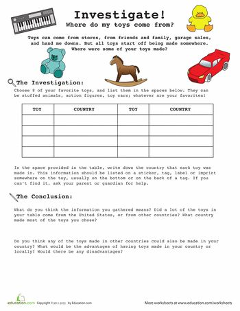 Worksheets: Introduction to Research: Your toys!