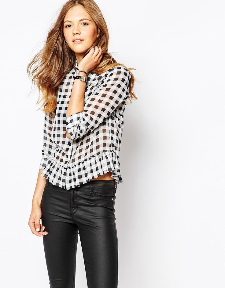 Harlyn Long Sleeve Gingham Peplum Blouse