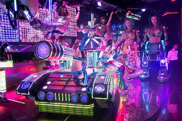 Robot Restaurant (Tokyo, Japan) Theme: Neon-hued chaos, strobe lights, scantily clad performers and robots. Lots of robots. Restaurant Menus: Traditional Japanese food.