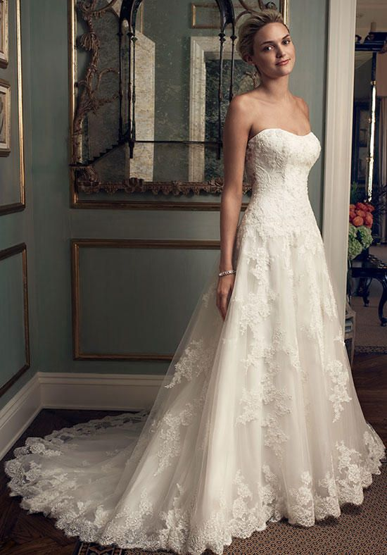 A-line gown features beaded lace appliqués on tulle and modified sweetheart neckline   Casablanca Bridal   2222   http://knot.ly/64978BPS5