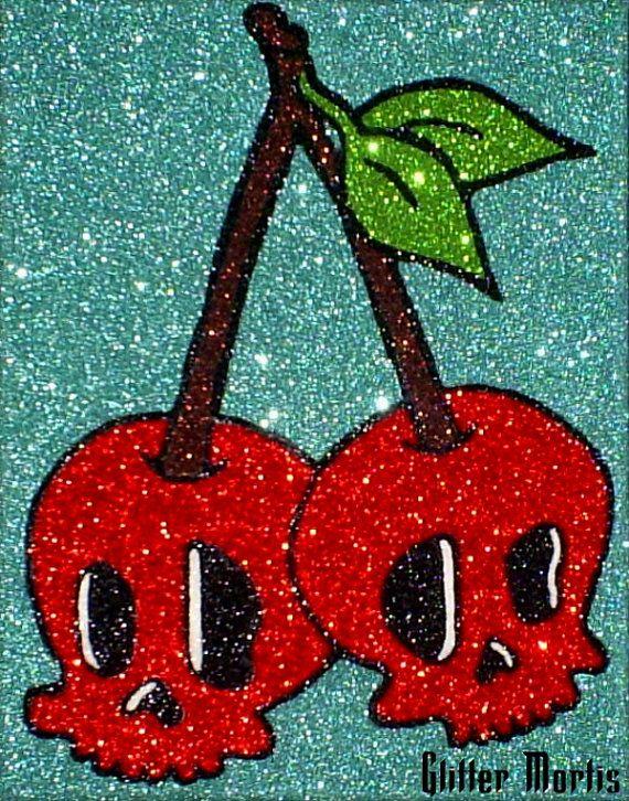 Rockabilly+Red+Skull+Cherries+Glitter+Painting++by+GlitterMortis,+$225.00