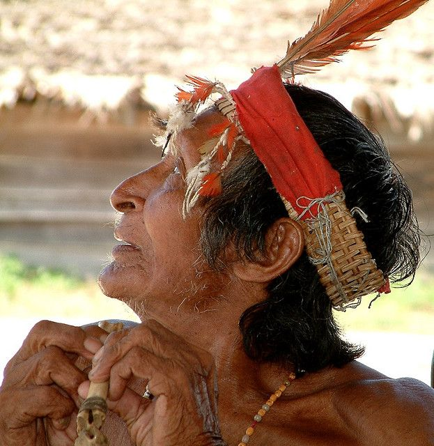 Indian Chief with flute, Palumeu, Suriname