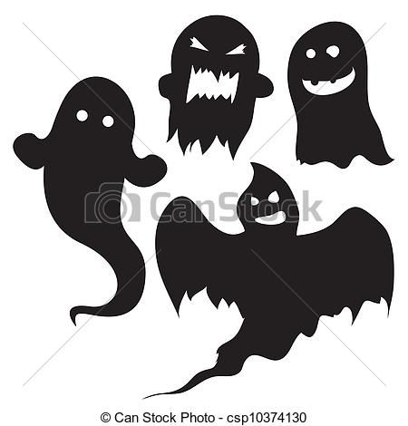 Vector - Halloween, fantasmas. Silueta negra.                                                                                                                                                                                 Más