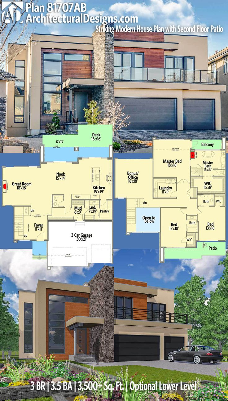 Architectural Designs House Plan 81707AB with an optional lower level. 3BR | 3.5BA | 3,400+SQ.FT. Ready when you are. Where do YOU want to build? #81707ab #adhouseplans #architecturaldesigns #houseplan #architecture #newhome #newconstruction #newhouse #homedesign #dreamhome #dreamhouse #homeplan #architecture #architect