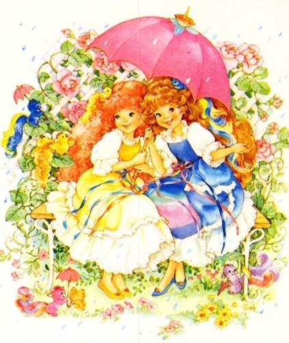"Maiden CurlyCrown & Maiden FairHair sharing umbrella in a garden. Artwork from the ""Lady Lovely Locks"" series."