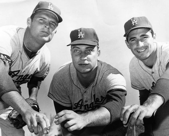 Dodger pitchers Don Drysdale, Johnny Podres and Sandy Koufax during Spring Training in 1963.: