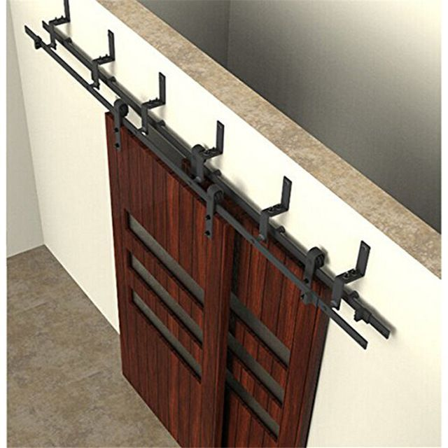 5 10ft Bypass Double Sliding Barn Wood Door Hardware Easily Installed Country Style Soft Close Bypass Barn Door Hardware Barn Door Hardware Barn Doors Sliding