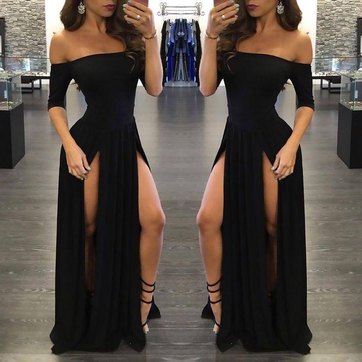 Sexy Black Prom Dress,Long Prom Dresses,Charming Prom Dresses,Evening