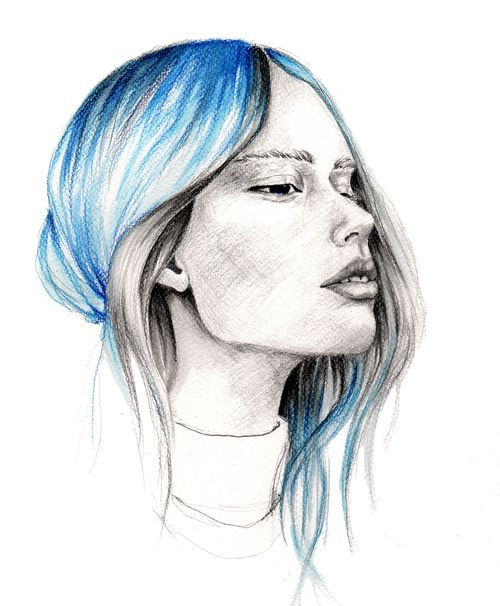 BlueHair #illustration #painting #watercolor #fashion #drawing #portrait