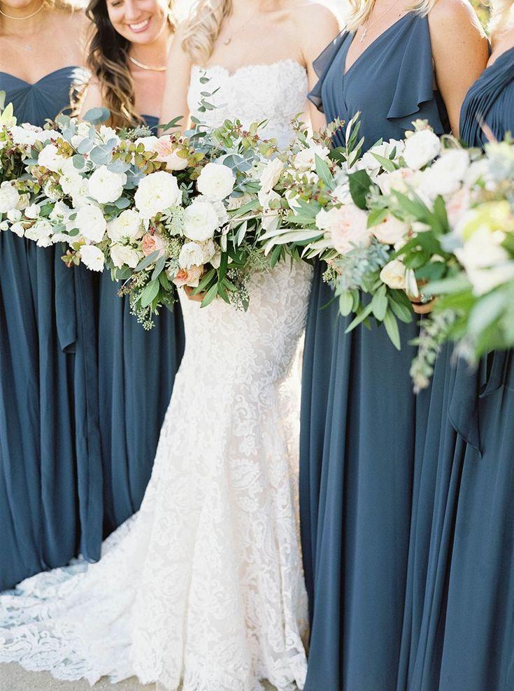 a3693c4343b Dark dusty blue bridesmaids dresses