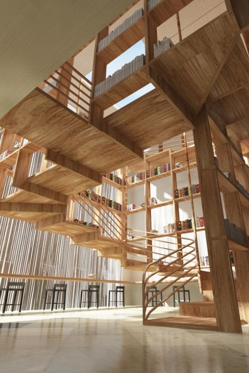 One Resort, library staircase by Jianxiong Liu.