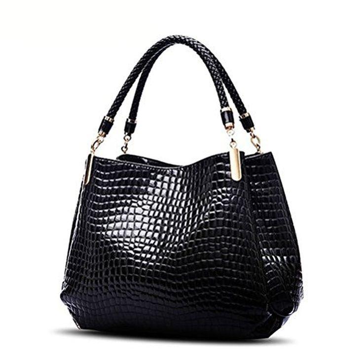 Ms. Charm Women's Patent Leather Crocodile Pattern Shoulder Handbag