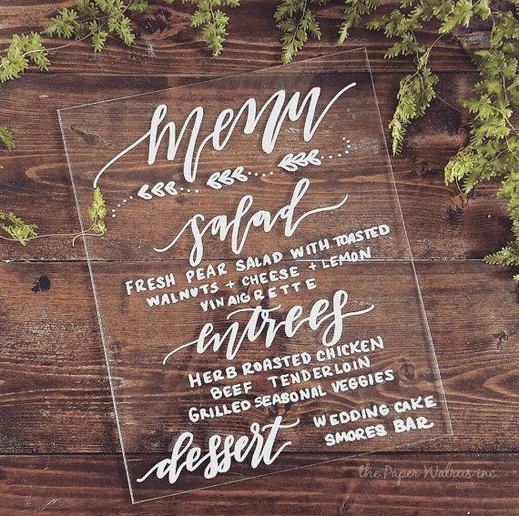 Wedding Menu Sign, Custom Acrylic Sign, 8x10 Calligraphy Acrylic Sign, Wedding Signs, Modern Wedding, Vintage Wedding