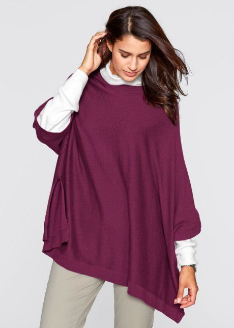 Poncho-Pullover, bpc bonprix collection, beere
