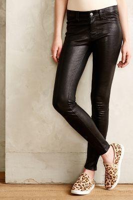 J Brand Leather Skinny Jeans Noir Denim #anthrofave