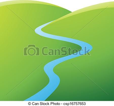 Vector - Green Hills and Blue River - stock illustration, royalty free illustrations, stock clip art icon, stock clipart icons, logo, line art, EPS picture, pictures, graphic, graphics, drawing, drawings, vector image, artwork, EPS vector art