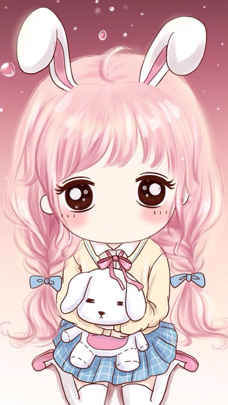 445 best cute kawaii images on pinterest backgrounds - Anime girl on phone ...