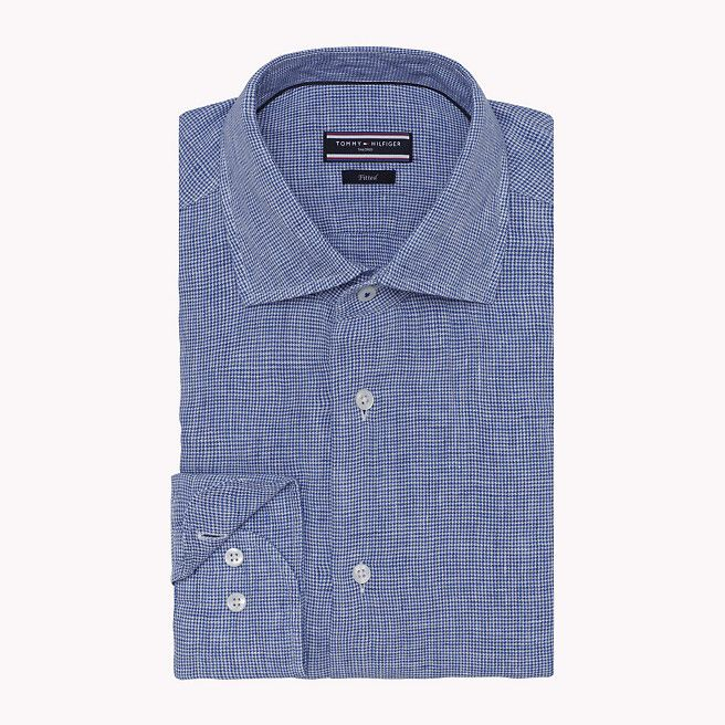 Tommy Hilfiger Linen Fitted Shirt - 420 (Blue) - Tommy Hilfiger Clothing - main image