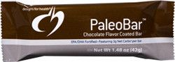 There is no need to feel guilty about eating chocolate anymore! Chocolate Coated PaleoBar™ is a micronutrient dense, health promoting snack/meal supplement that can be very beneficial in the implementation of a successful low-carbohydrate eating plan, with only 3 net carbs per bar! #paleo #chocolate #diet #fitness #snack