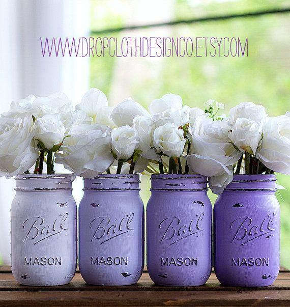 Painted Mason Jar Lavender Purple Ombre por dropclothdesignco