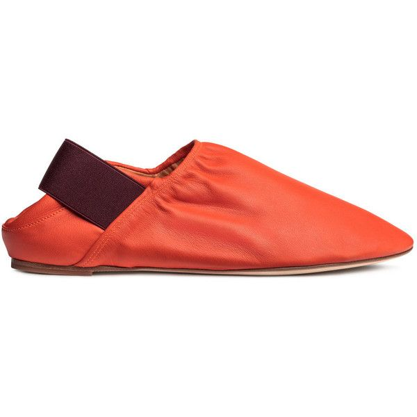 Slip-on Leather Shoes $129 ($129) via Polyvore featuring shoes, orange shoes, leather footwear, slip-on shoes, genuine leather shoes and real leather shoes