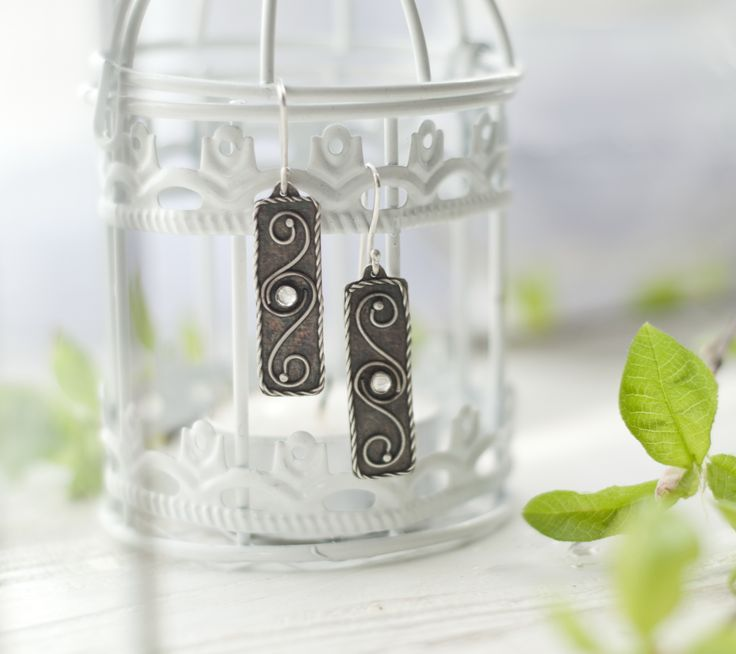 Silver jewelry. Handmade earrings with moonstone