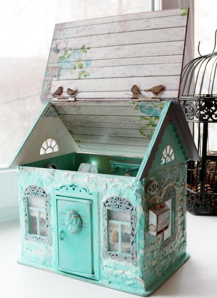 Miniatures | Мятный кукольный домик. Румбокс для кукол. - Ярмарка Мастеров - ручная работа, handmade