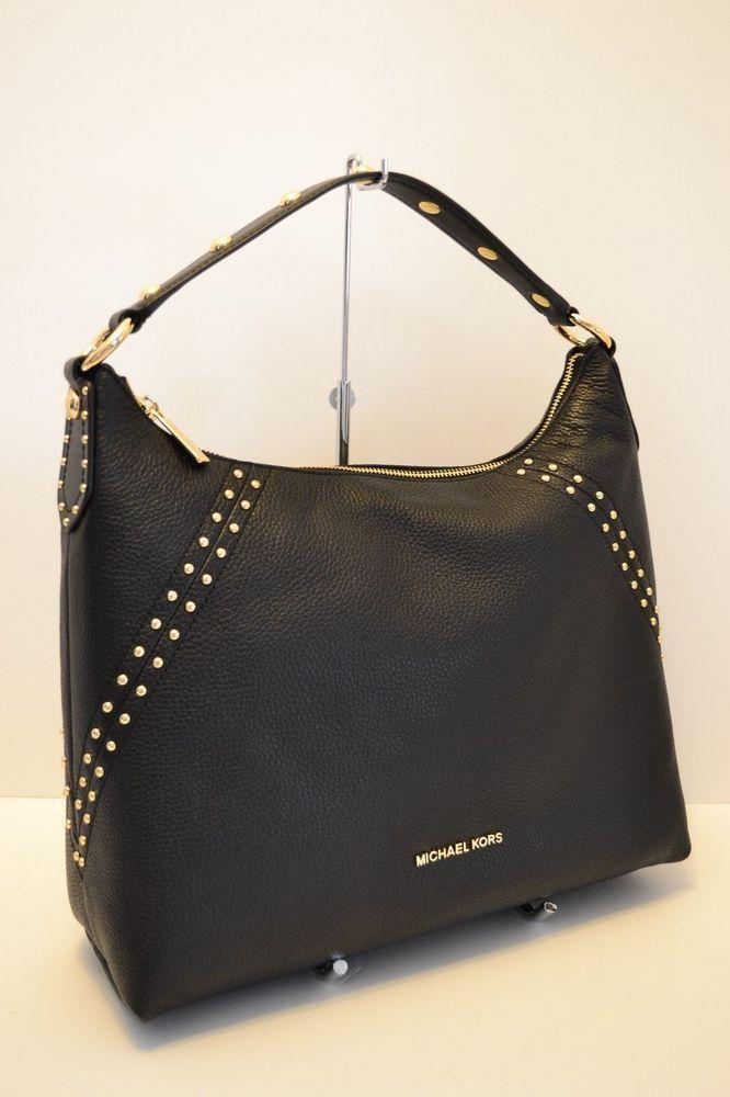 NWT MICHAEL KORS ARIA STUDDED MD TZ LEATHER SHOULDER BAG in BLACK  fashion   clothing  shoes  accessories  womensbagshandbags ... 8eb6ae80b7e58