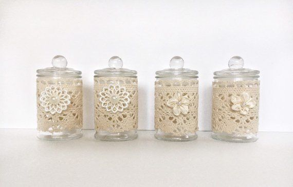 These Adorable Small Upcycled Glass Jars Are Adorned With A Special Sewn Cozy And A Fabric Flo Decorative Glass Jars Apothecary Jars Decor Glass Jars With Lids