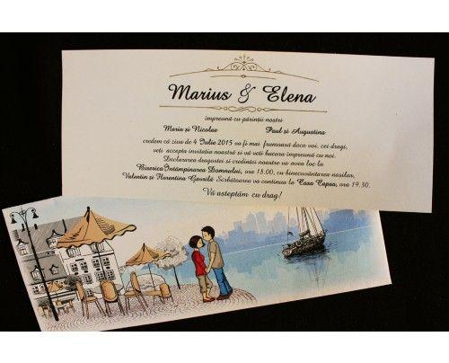 Invitatii de nunta cu indragostiti la mal