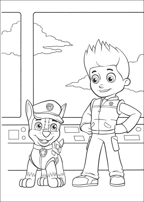 Paw Patrol Tegninger til Farvelægning. Printbare Farvelægning for børn. Tegninger til udskriv og farve nº 14