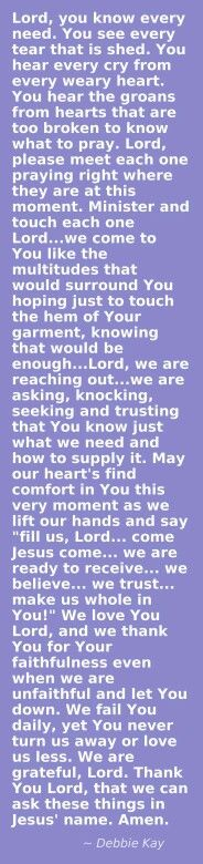 Thank you Lord that we can ask these things in Jesus'name.