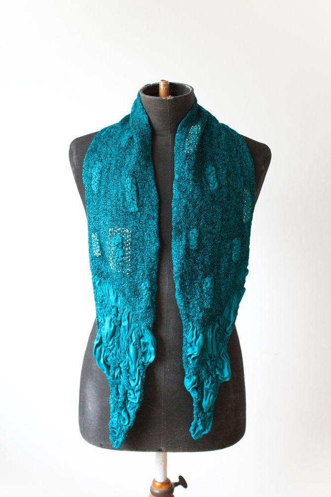 nuno felted scarf - blue lagoon