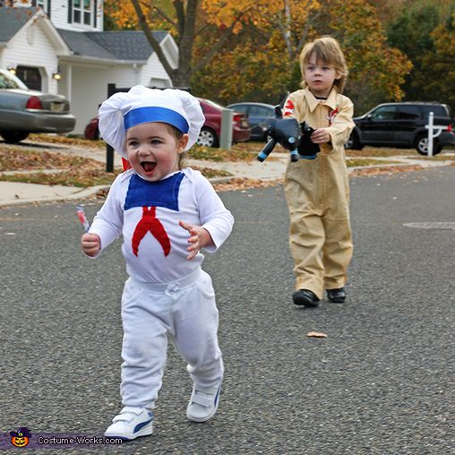 Christy: Tyler as a Ghostbuster and Kaylee as the Stay Puft Marshmallow Man.