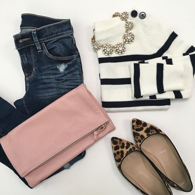 Blush leather foldover clutch, Ily Couture juliet necklace, J.Crew viv leaopard flats, Loft modern distressed denim, Loft Petite Striped Sailor Sweater