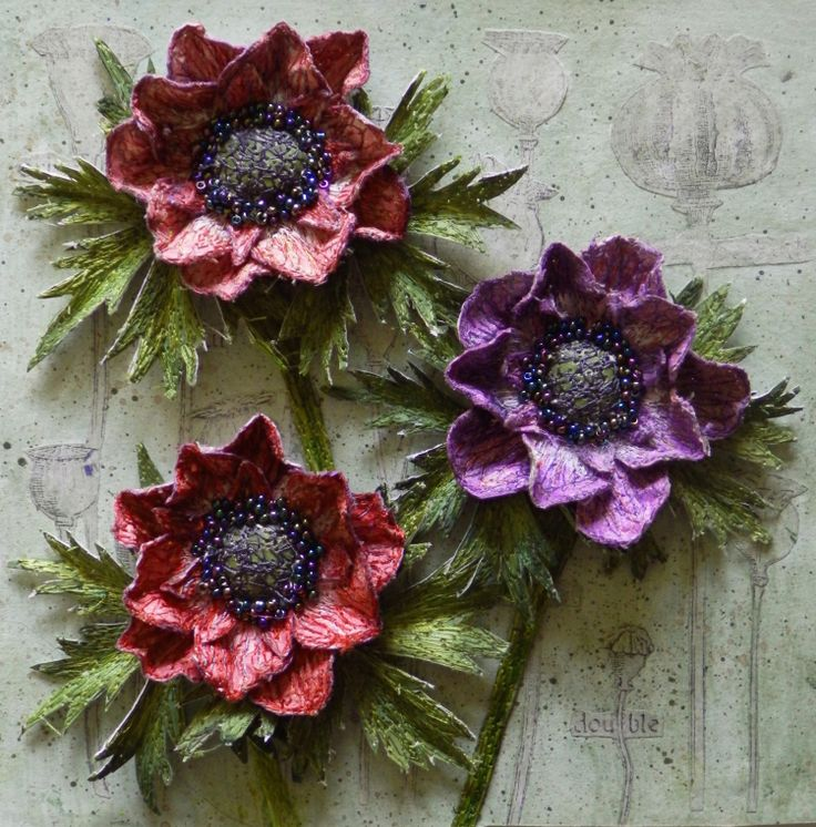 3d floral embroidery - stumpwork flower diorama by Corinne Young