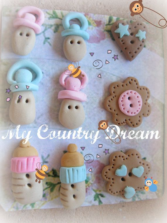 Handmade buttons Baby Bottle & Nipple set of 9 pz by dragosafira, $6.00