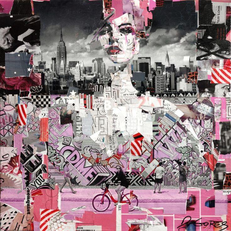"""Collage Artwork: Collage Art by Derek Gores 'Full Volume Pink Graffiti"""" 24"""" x 24"""" collage on canvas. contact derek(at)derekgores dot com"""