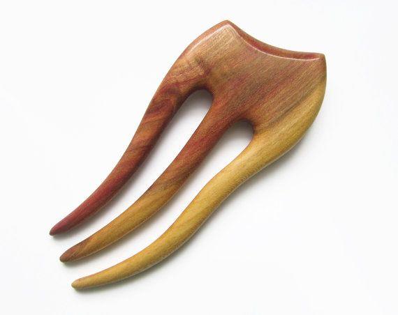 Wooden Hair Fork hairfork wood hair stick wood by forEVAhairforks