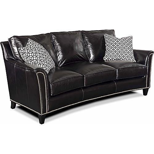 Nebraska Furniture Mart U2013 Bradington Young Traditional Black Leather Sofa  With Nailhead Accents