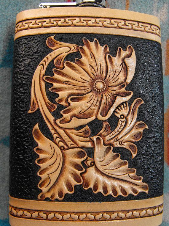Hand Tooled Leather Sheridan Flask