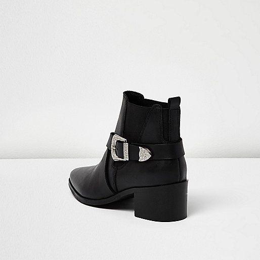 Bottes noires à brides croisées style western , Bottines , Chaussures/ bottines , Femme