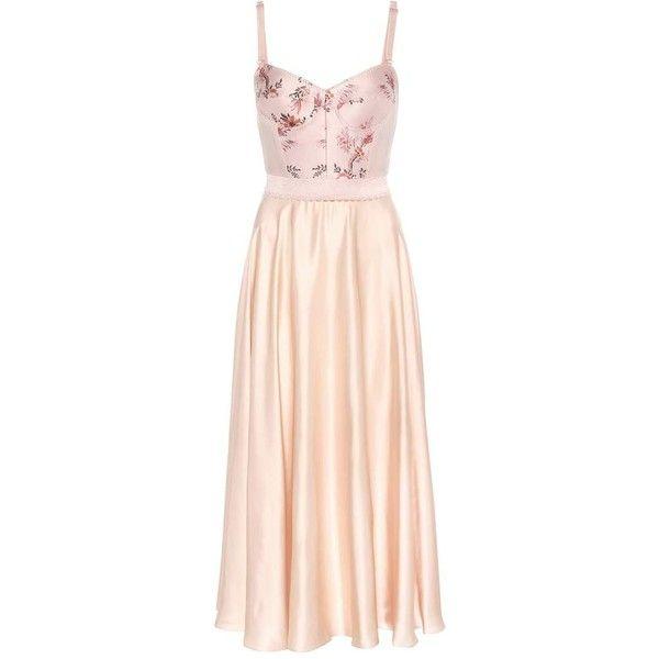 Stella McCartney Jacquard and Satin Dress ($2,565) ❤ liked on Polyvore featuring dresses, vestidos, платья, pink, pink cocktail dress, jacquard dress, stella mccartney, satin dress and stella mccartney dresses