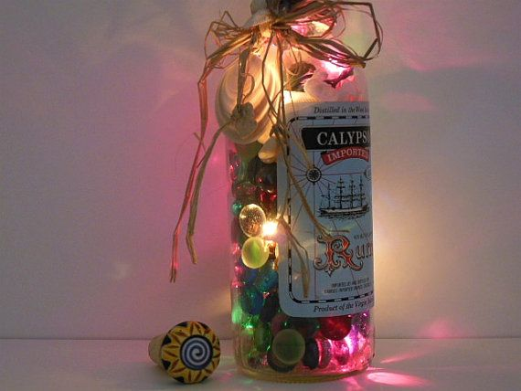 Bottle Lights  Up Cycled Glass Bottle   by AuroraBottleLights,