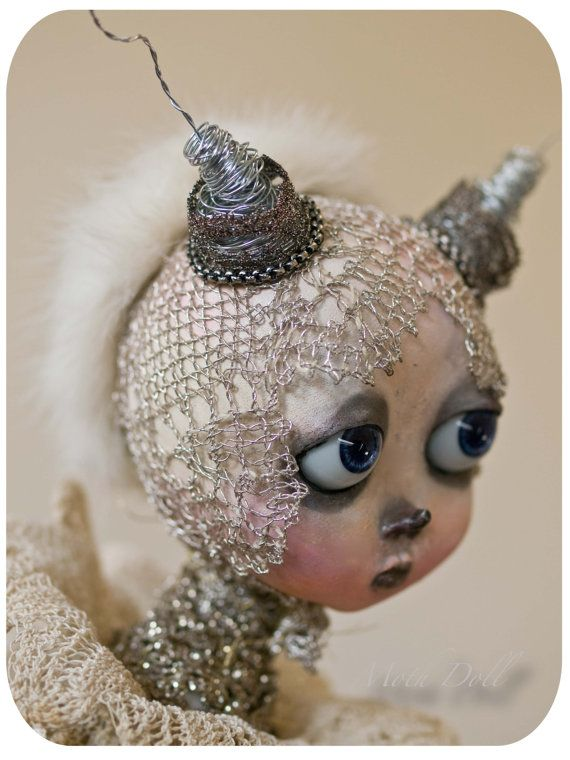 """Loverly art moth doll- is  about 29"""" tall. She is free standing in a wooden base by Paula Nerhus."""