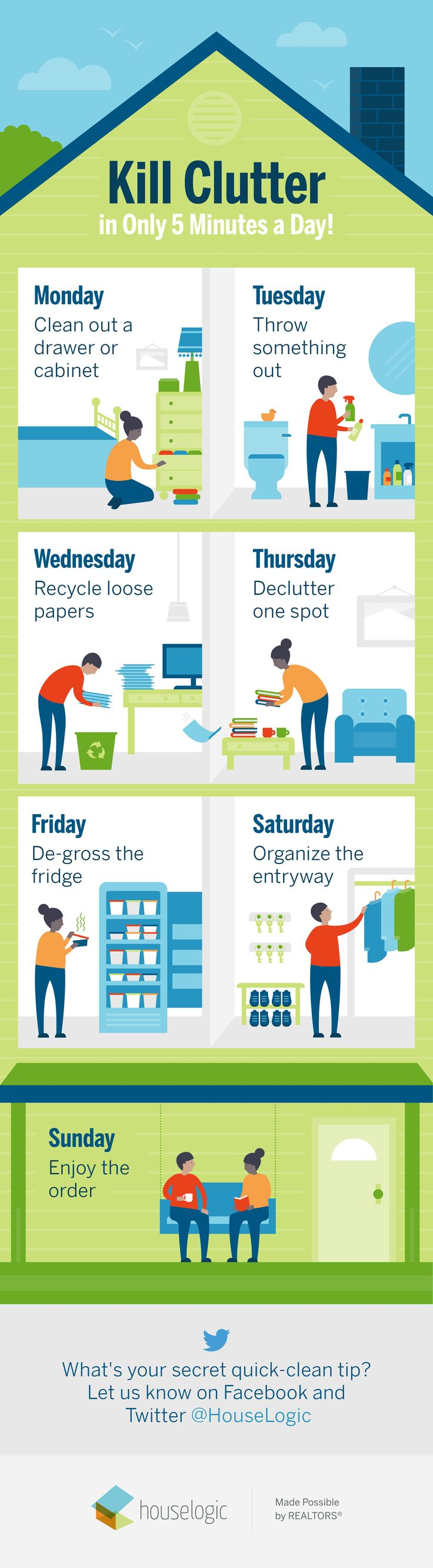 Make a schedule. That's all it takes to banish #clutter from your #home for good. Here's how to do it. #declutteringtips