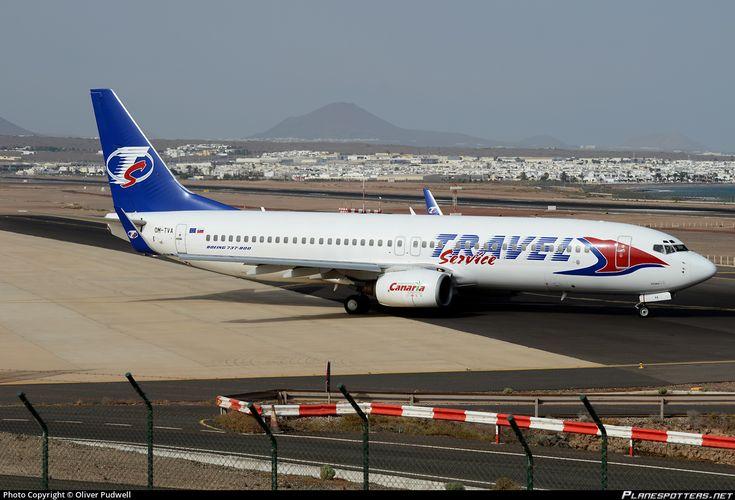 Travel Service Slovakia Boeing 737-86N(WL) OM-TVA aircraft, skating at Spain Lanzarote (Arecife) Airport. 22/08/2013.
