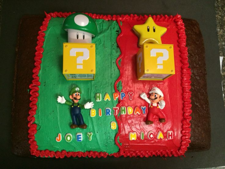 My boys asked for another Mario birthday party. The mystery blocks, star, and 1up mushroom all contained candy. I got those from Five Below.